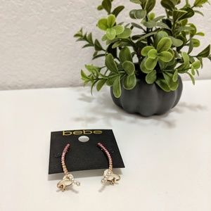 Bebe Pink Ear Cuff with clip-on and stud